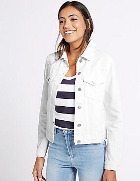 Denim 2 Pocket Jacket, WHITE, catlanding