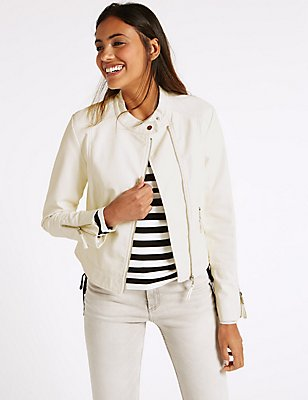2 Pocket Zipped Moto Jacket , IVORY, catlanding