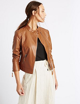 2 Pocket Zipped Moto Jacket , TAN, catlanding