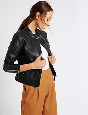 Twin Pocket Zipped Moto Jacket, BLACK, catlanding