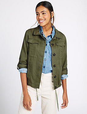 Turn Up Sleeve Jacket, KHAKI, catlanding