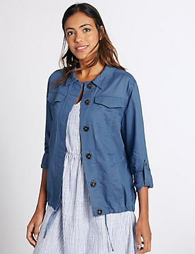 Turn Up Sleeve Jacket, CHAMBRAY, catlanding