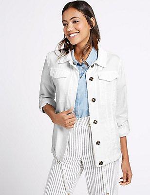Turn Up Sleeve Jacket, WHITE, catlanding