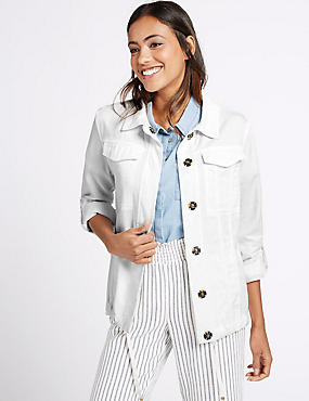 Turn Up Sleeve Jacket, WHITE, catlanding