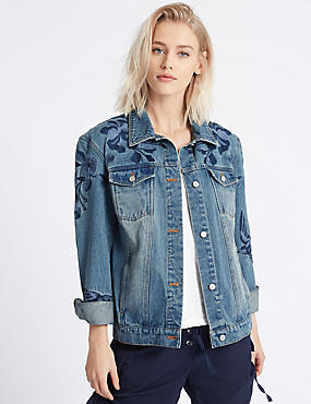 Chaqueta denim con bordado, DENIM, catlanding