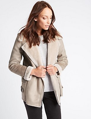 Faux Leather Shearling Jacket, MINK, catlanding