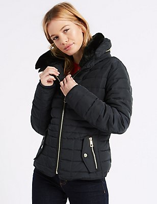 PETITE Down & Feather Padded Jacket with Stormwear™, NAVY, catlanding