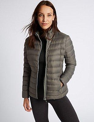 Mit Federn und Daunen gefütterte Jacke mit Stormwear™, GRAUGRÜN, catlanding