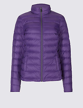 Lightweight Down & Feather Jacket, PURPLE, catlanding