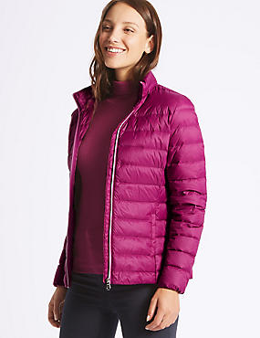 Lightweight Down & Feather Jacket, MAGENTA, catlanding