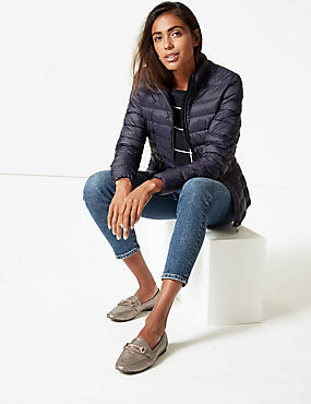 Lightweight Down & Feather Jacket, NAVY, catlanding