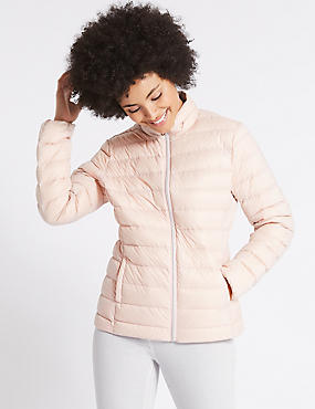 Lightweight Down & Feather Jacket, PETAL PINK, catlanding