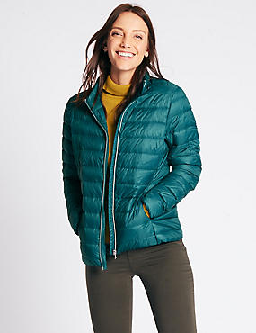 Padded Down & Feather Jacket with Stormwear™, PETROL GREEN, catlanding