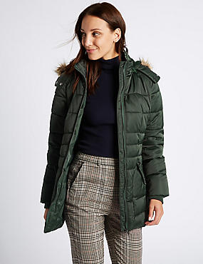 Satin Padded Jacket with Stormwear™, FOREST GREEN, catlanding