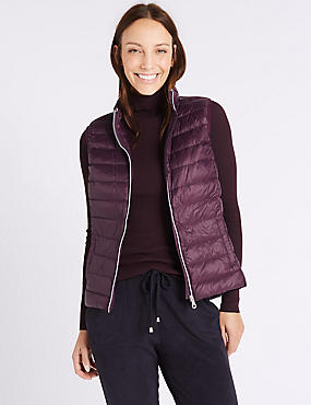 Down & Feather Gilet with Stormwear™, PURPLE, catlanding