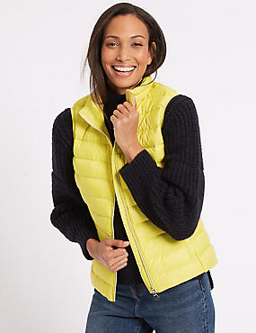 Down & Feather Gilet with Stormwear™, ACID YELLOW, catlanding