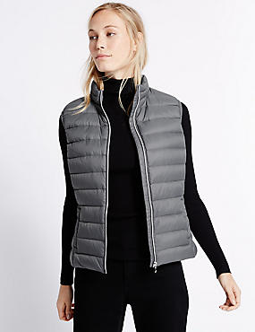 Down & Feather Gilet with Stormwear™, SILVER GREY, catlanding
