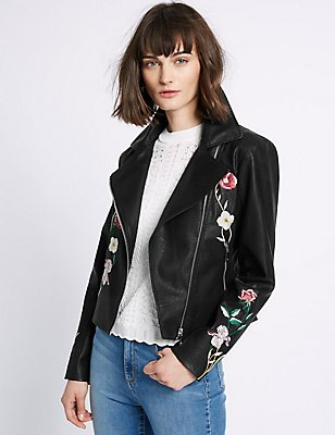 PU Floral Embroidered Biker Jacket, BLACK, catlanding