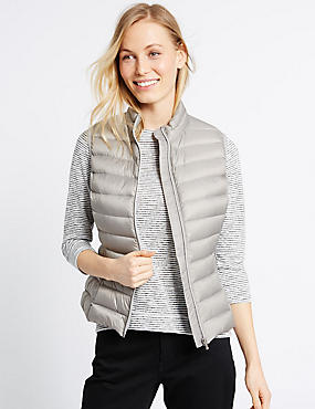Down & Feather Lightweight Gilet Jacket, SILVER GREY, catlanding