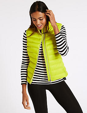 Down & Feather Lightweight Gilet Jacket, YELLOW, catlanding