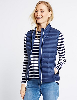 Down & Feather Lightweight Gilet Jacket, MARINE, catlanding