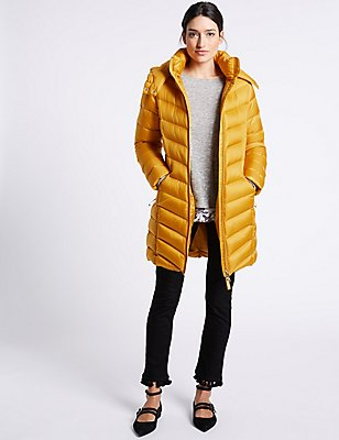 Down & Feather Padded Jacket with Stormwear™, OCHRE, catlanding