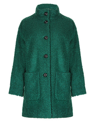 Oversized Bouclé Funnel Neck Cocoon Coat with Wool Clothing