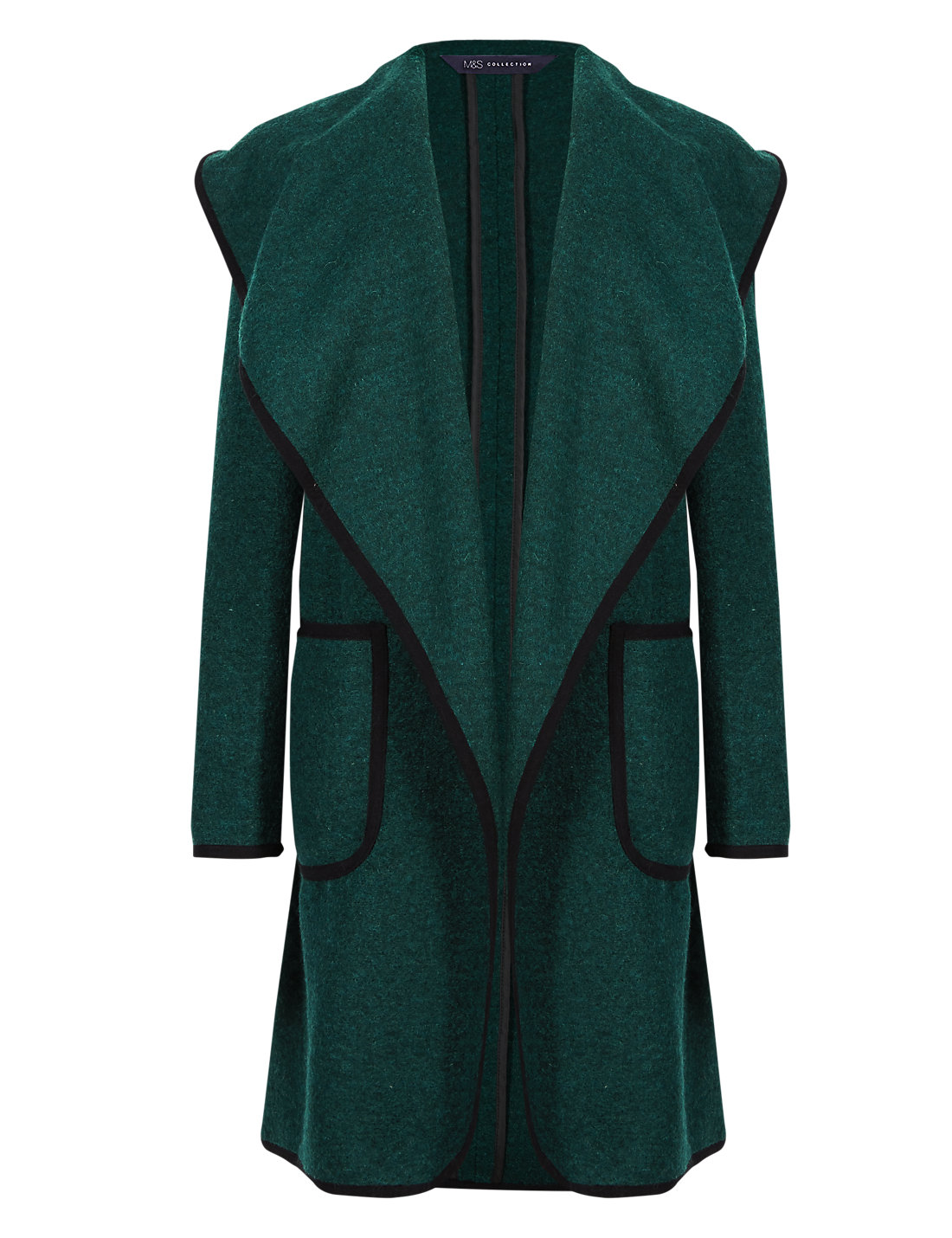 Wool Blend Open Front Blanket Coat