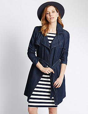 Denim Belted Trench Coat
