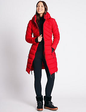 Padded Jacket with Detachable Hood, RED, catlanding
