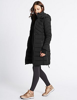 Padded Jacket with Detachable Hood, BLACK, catlanding
