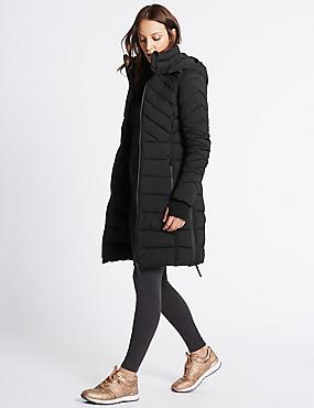 Padded Jacket with Detachable Hood, BLACK, catlanding