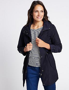 Fleece Parka with Stormwear™, NAVY, catlanding