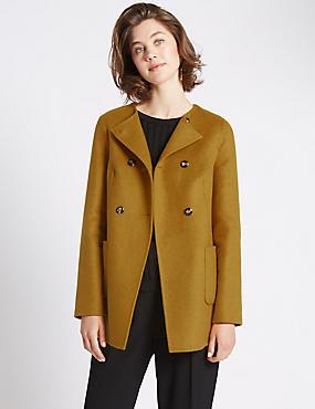 Swing Fit Double Breasted Coat, OCHRE, catlanding