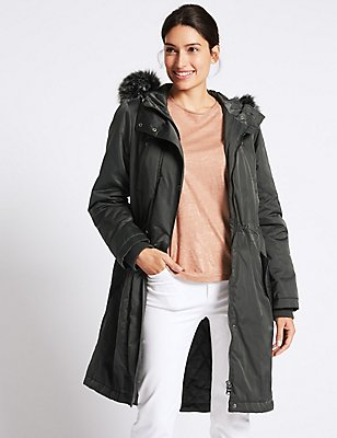 Satin Parka with Stormwear™, CHARCOAL, catlanding