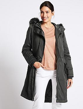 Satin Parka with Stormwear™, CHARCOAL, catlanding