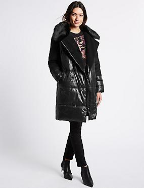 Padded Coat with Stormwear™, BLACK, catlanding
