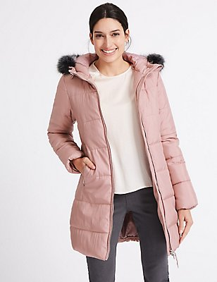 Metallic Waist Padded Coat with Stormwear™, PINK, catlanding