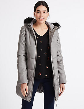 Metallic Waist Padded Coat with Stormwear™, SILVER GREY, catlanding