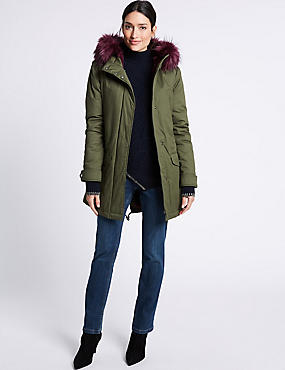 Pure Cotton Faux Fur Trim Parka, KHAKI, catlanding