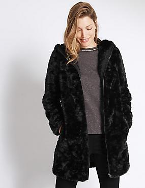 Hooded Faux Fur Overcoat, BLACK, catlanding
