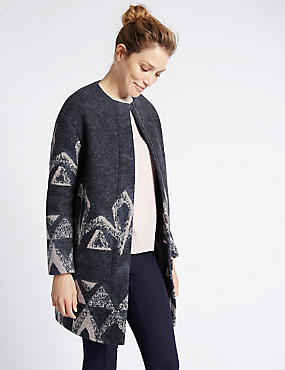 Wool Blend Cut & Sew Printed Overcoat, NAVY MIX, catlanding