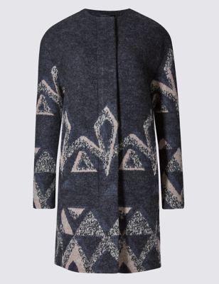 Шерстяное пальто Cut & Sew с принтом Per Una T493716L