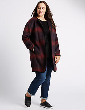 PLUS Textured Overcoat with Wool, BURGUNDY MIX, catlanding