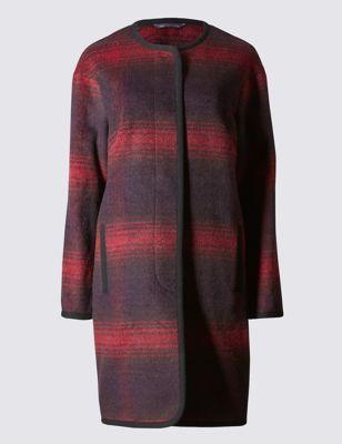 Пальто в клетку с окантовкой и добавлением шерсти M&S Collection T493718