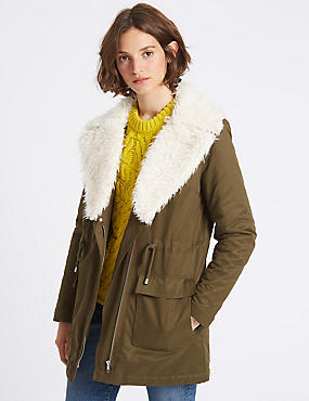 Cotton Rich Shearling Parka, KHAKI, catlanding