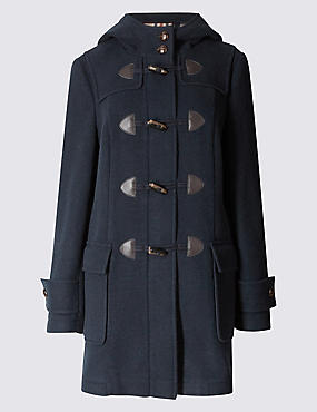 Duffle Hooded Coat, NAVY, catlanding
