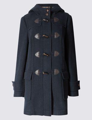 Слегка приталенное пальто-дафлкот с капюшоном на подкладке и добавлением шерсти M&S Collection T493721