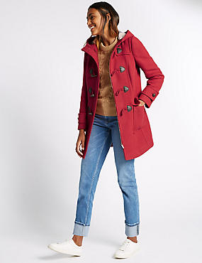 Duffle Hooded Coat, LACQUER RED, catlanding