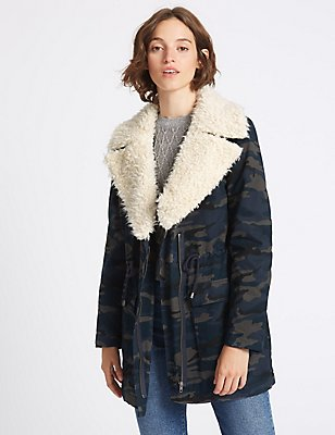 Pure Cotton Printed Shearling Parka, NAVY, catlanding